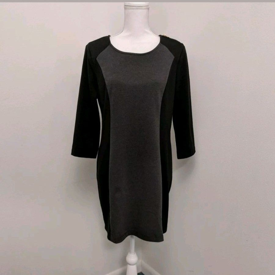 Andrew Marc Black & Gray Dress Sz L