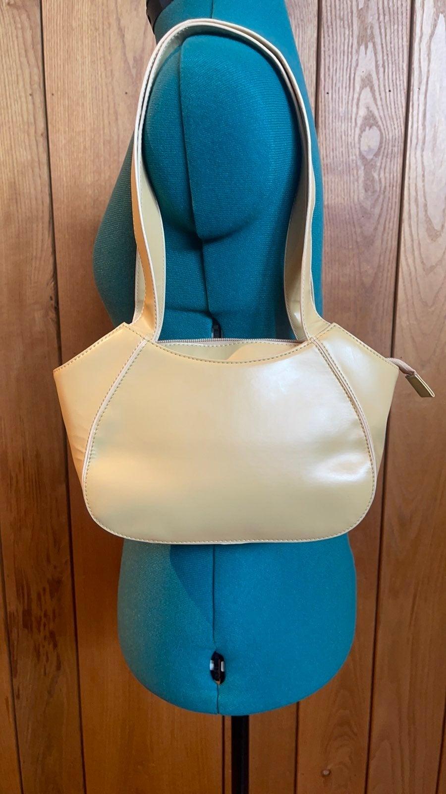 KMQ Yellow Cream Shoulder Hand Bag Small
