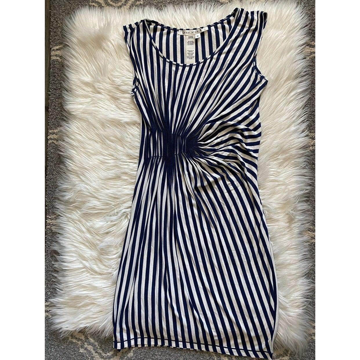 Max Studio gathered side striped dress