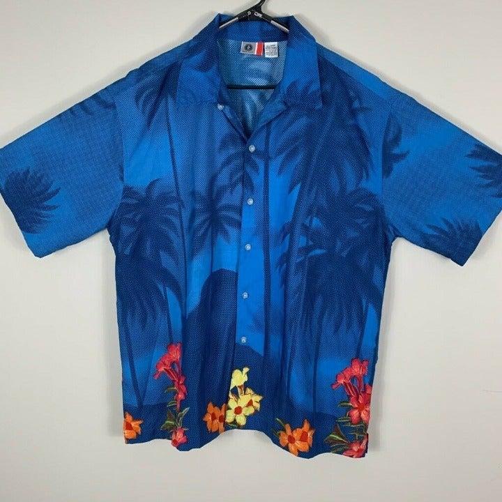 Arizona Jeans Mens Hawaiian Shirt Blue