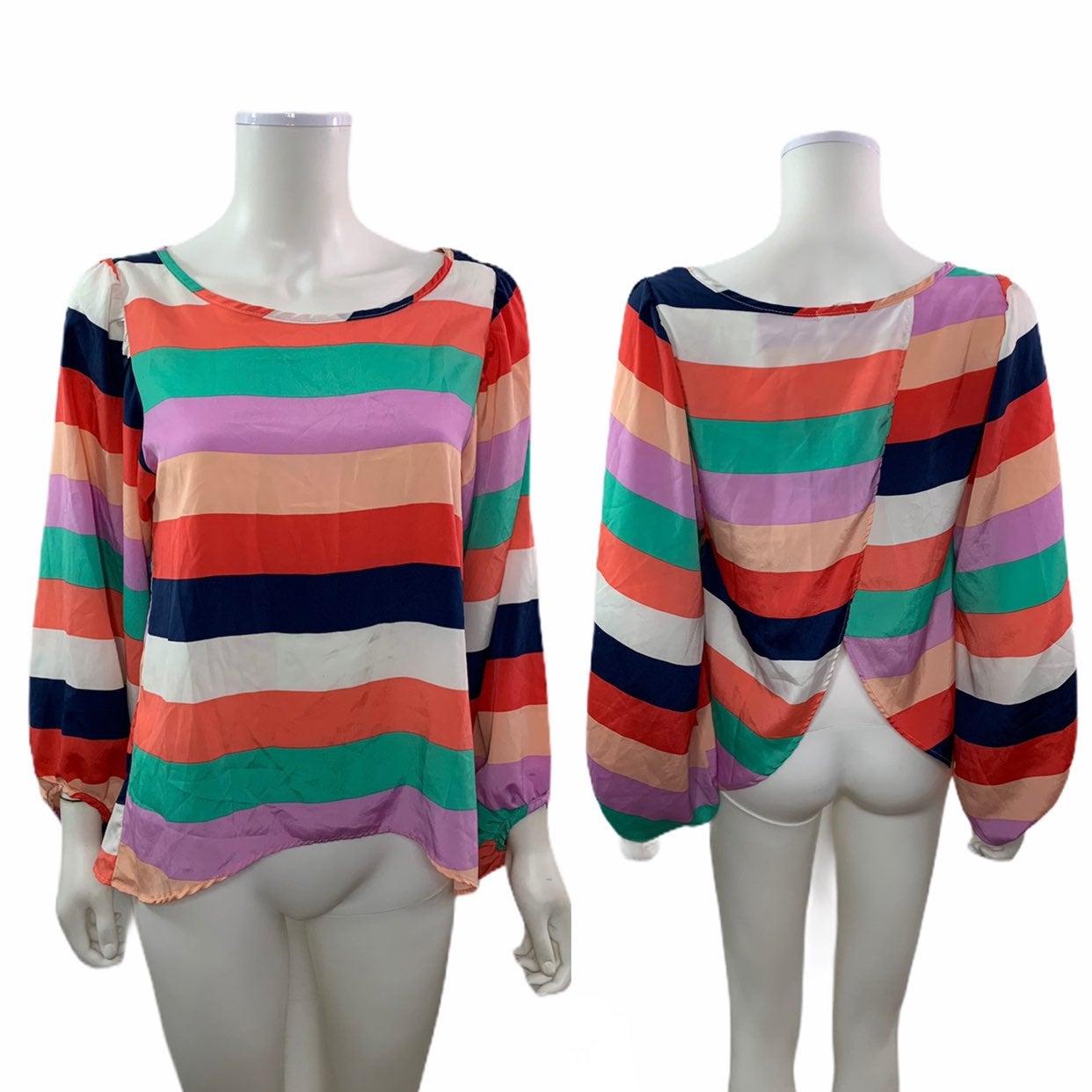 Slit back striped blouse