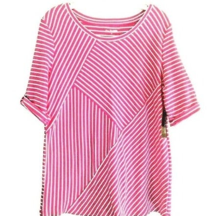 Kim Rogers Women's Knit Top Pink Striped