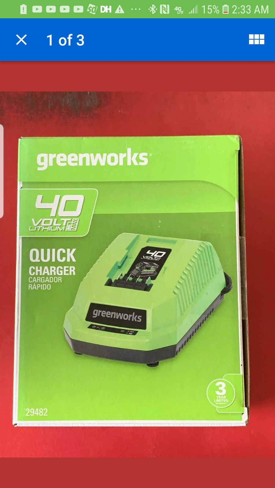 Greenworks Quick Charger Brand New, Seal
