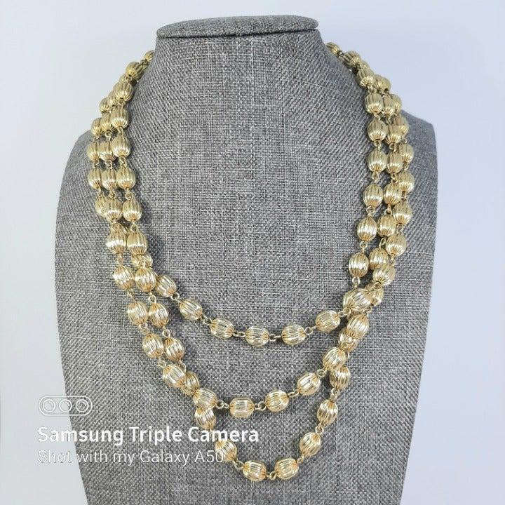 Vintage Monet 3 Strand Goldtone Necklace