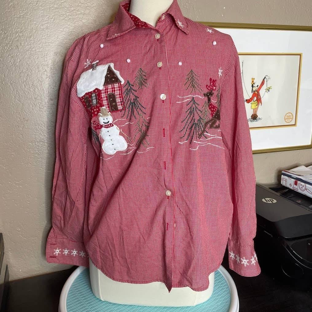 KAREN SCOTT Winter Snow Button Up Shirt