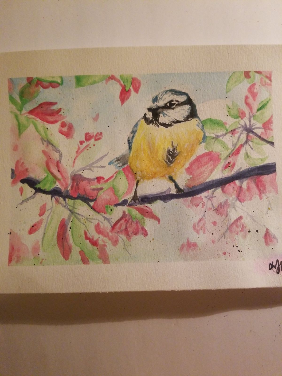 Bird Watercolor Prismacolor Painting art