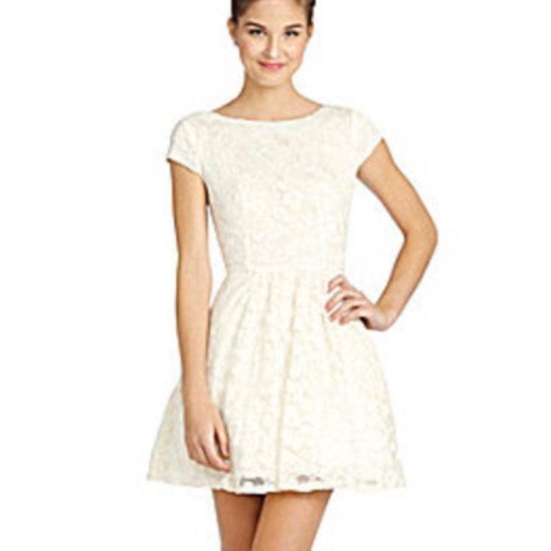 B. Darlin Lace Foil Skater Dress