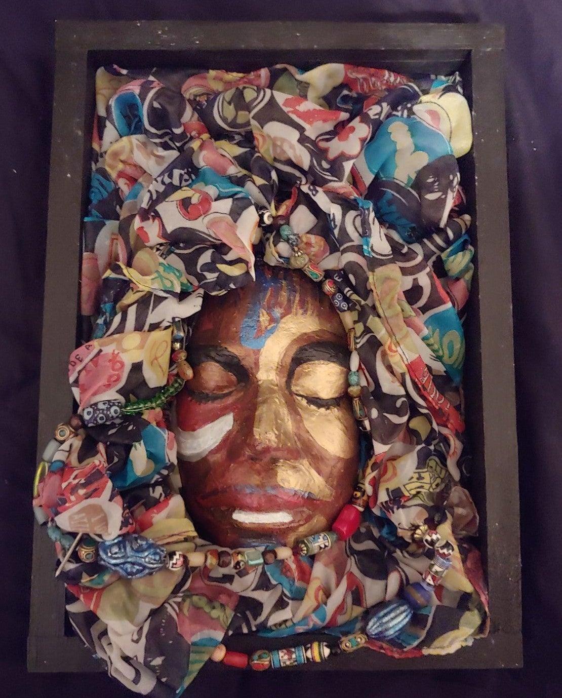 Hand Painted Mardi Gra Ceramic Mask