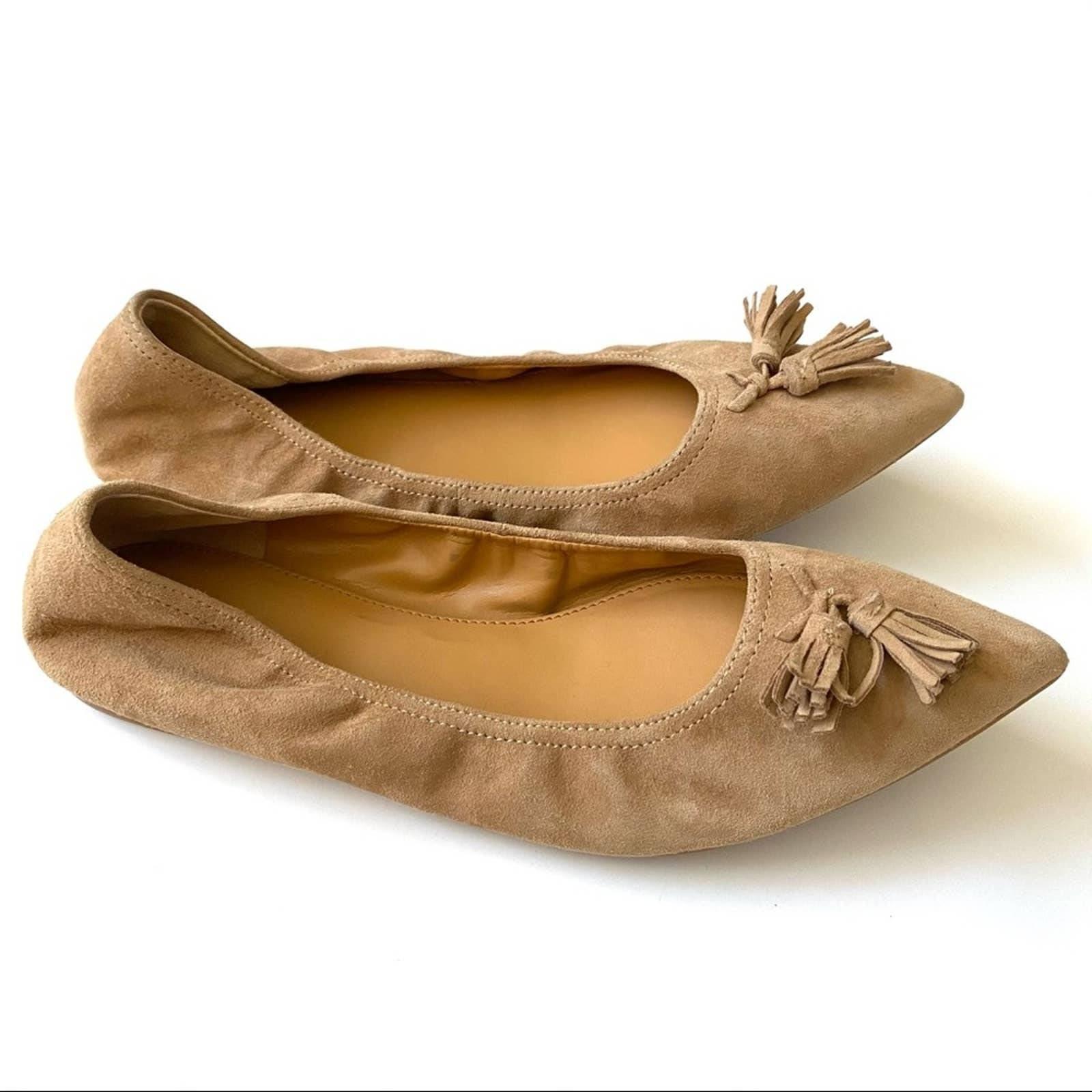 J Crew Lottie Tassle Suede Ballet Flats