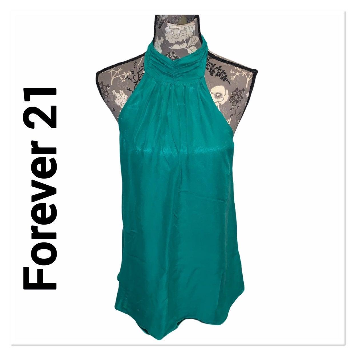 FOREVER 21 Green Silk Halter Top size sm