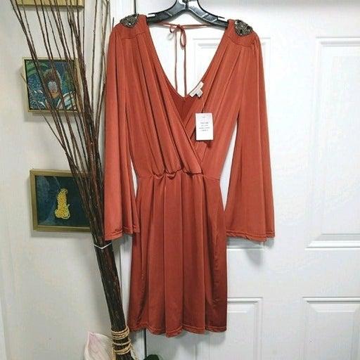 Boston Proper Embellished shoulders Swing Dress XS