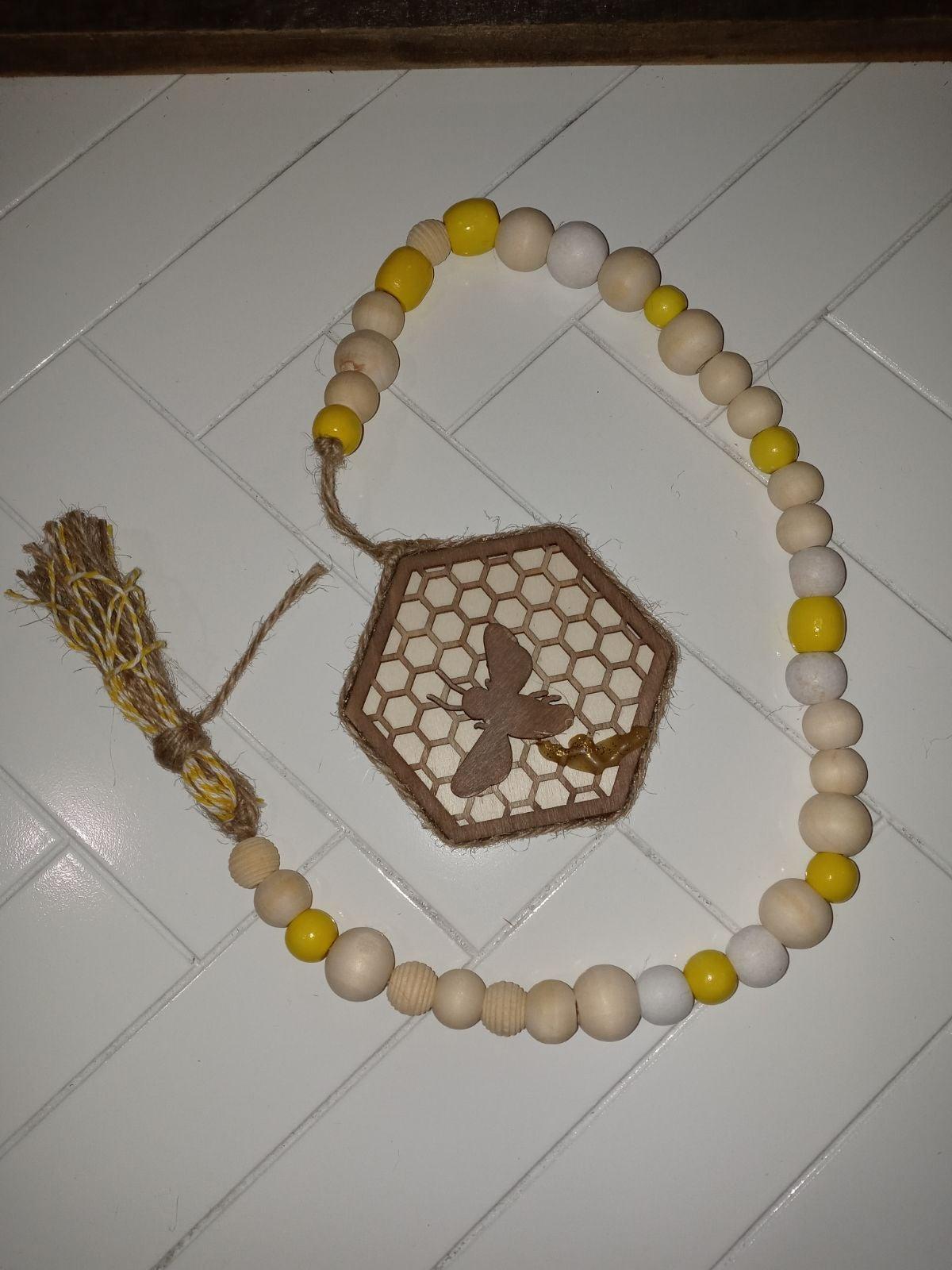 Bee wooden bead garland