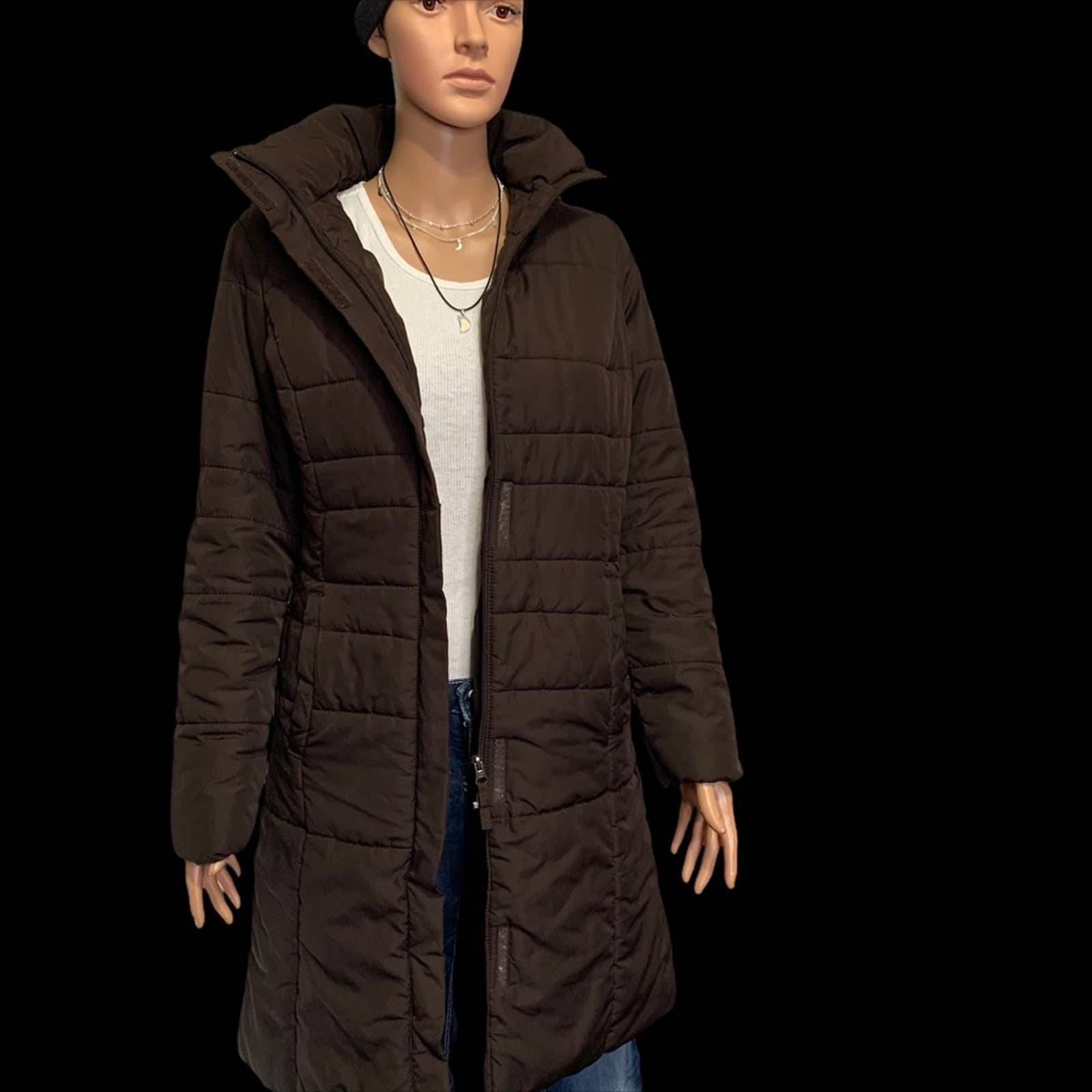 Women's Long Puffer Trench Coat • Small