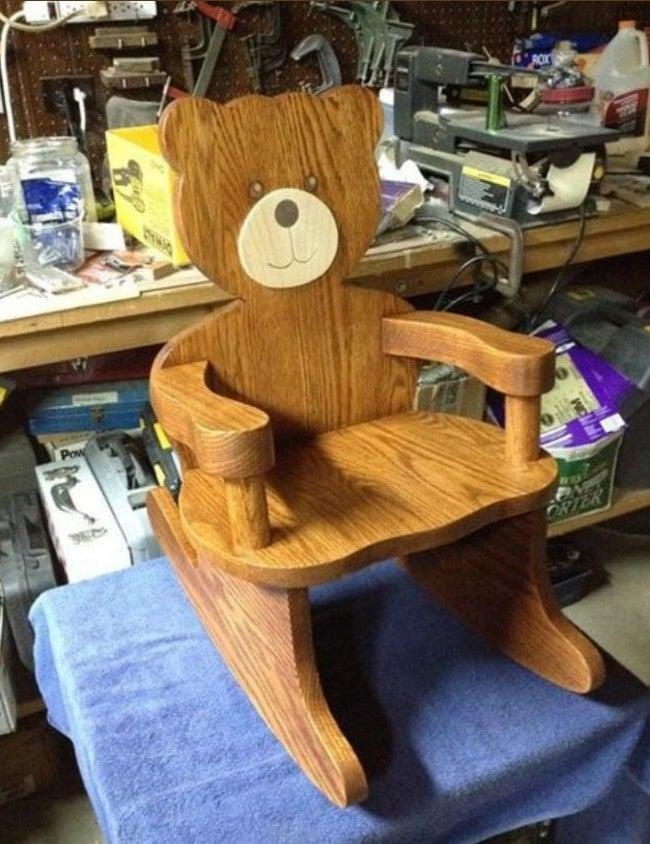Solid wood bear rocking chair