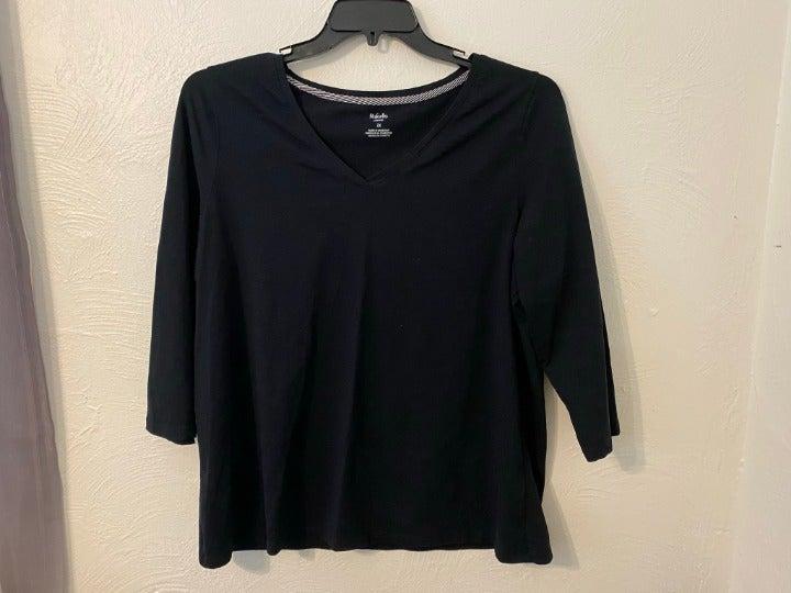 Rafaella Black V Neck T-Shirt Cotton 2X