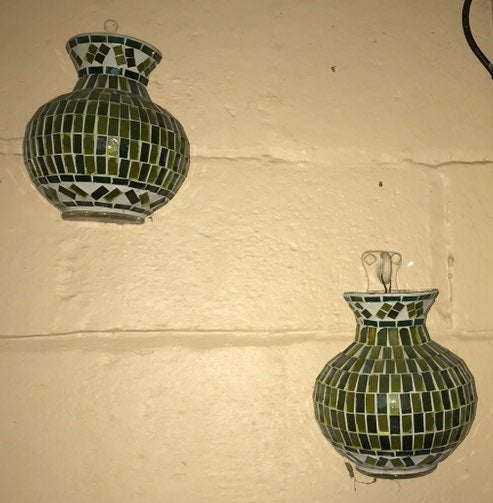 2 Vtg Glass Mosiac Wall Pocket Vase