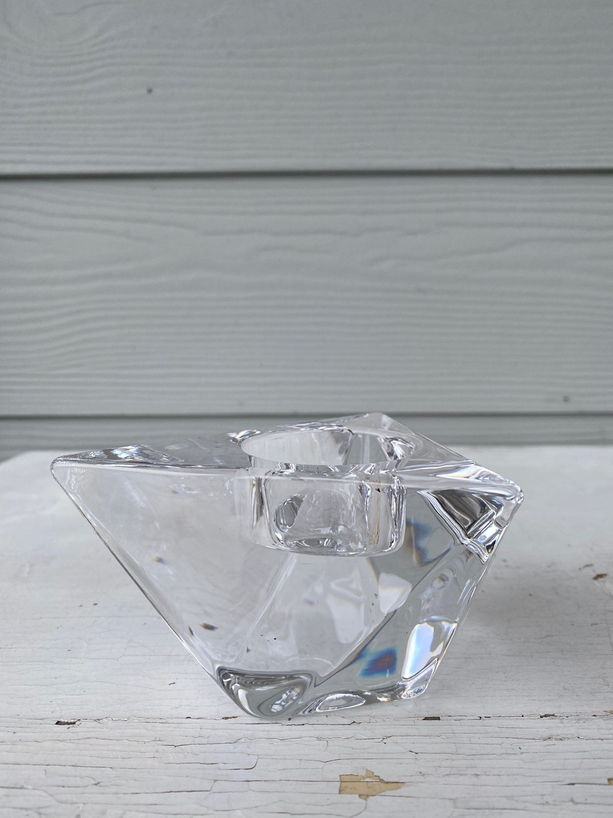Orrefors Sweden faceted crystal votive