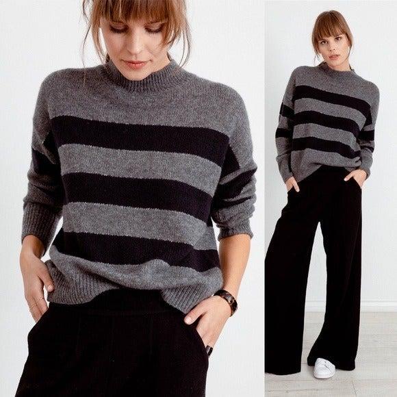 Rails Ellise Charcoal striped cashmere