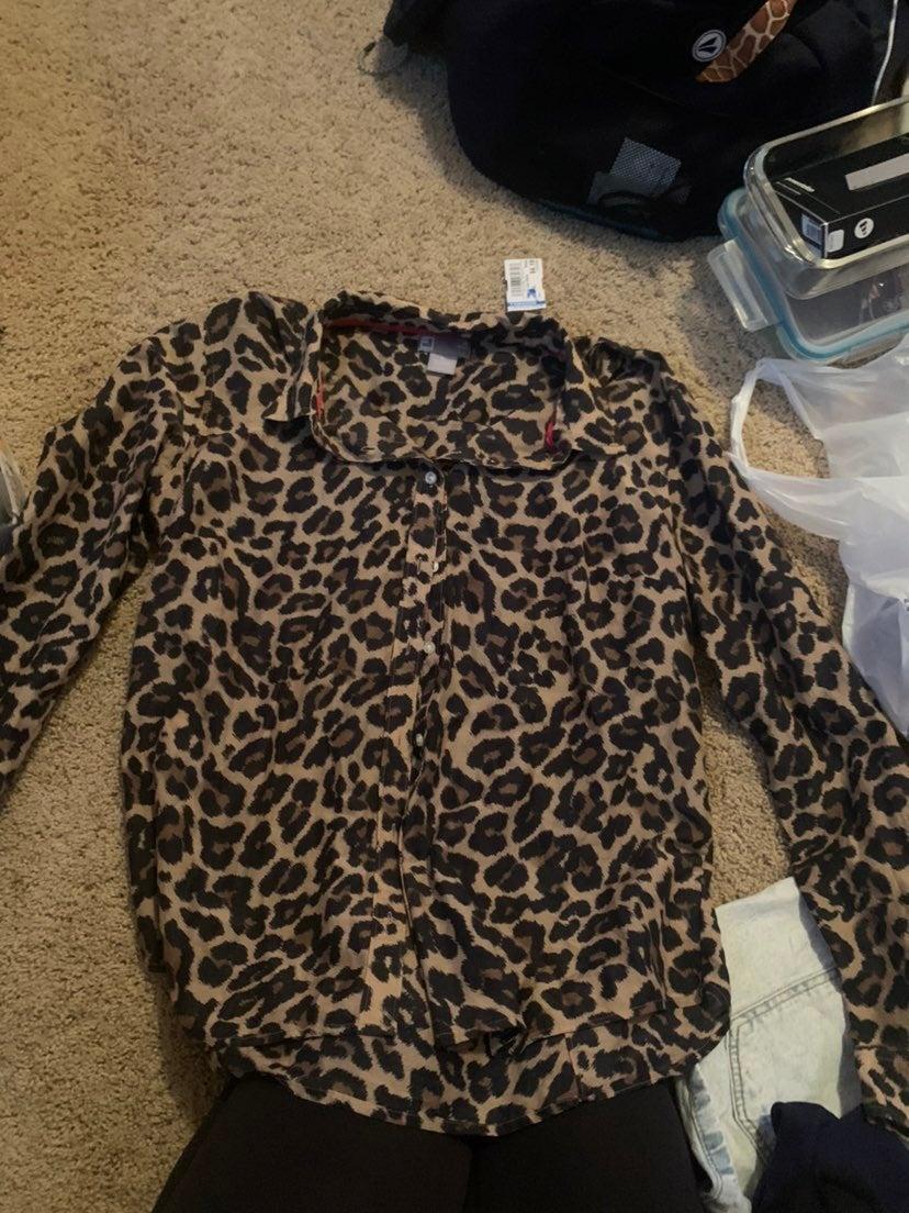 Silk cheetah blouse