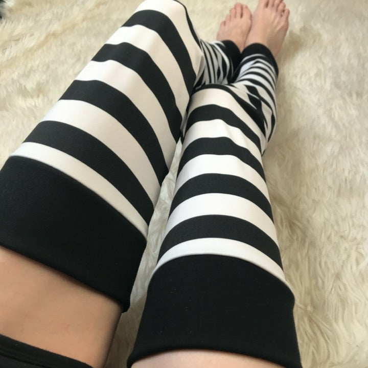 Black & White Striped Thigh Highs Socks