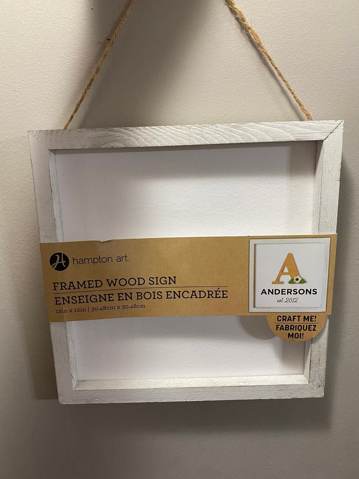"""Framed wood wall hanging 12""""x12"""""""