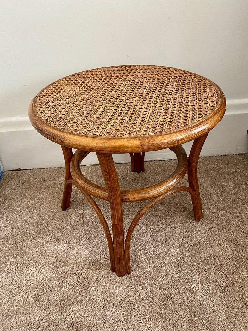 Bamboo rattan wicker mini table