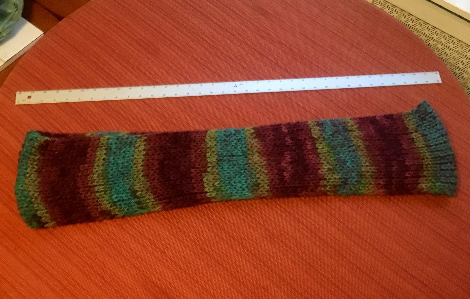 Maroon and teal infinity knitted scarf