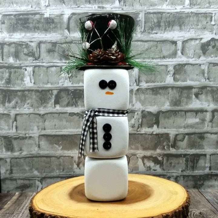 Adorable Snowman with Black Top Hat