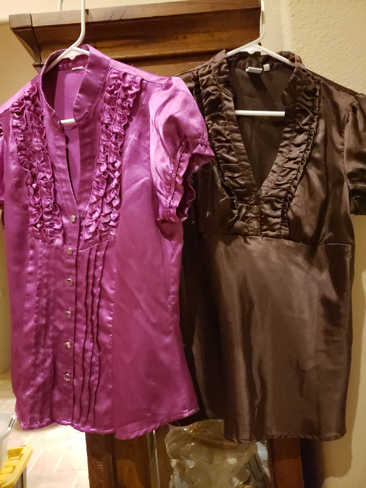 Brown and Purple tops XL