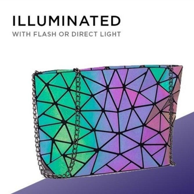 Holographic geometric crossbody bag