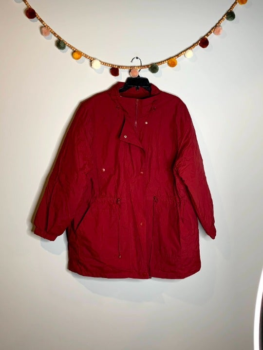Woman Within burgundy parka
