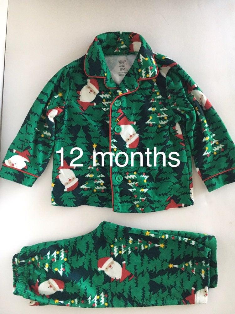 Carter's Green Santa Pajamas 12 Months