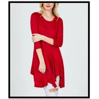 d467046a992 Red Knit Handkerchief Hem Dress   Tunic