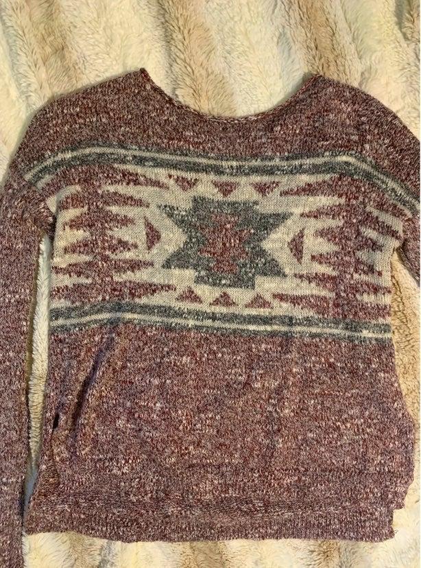 Hollister High Low Boho Aztec Sweater