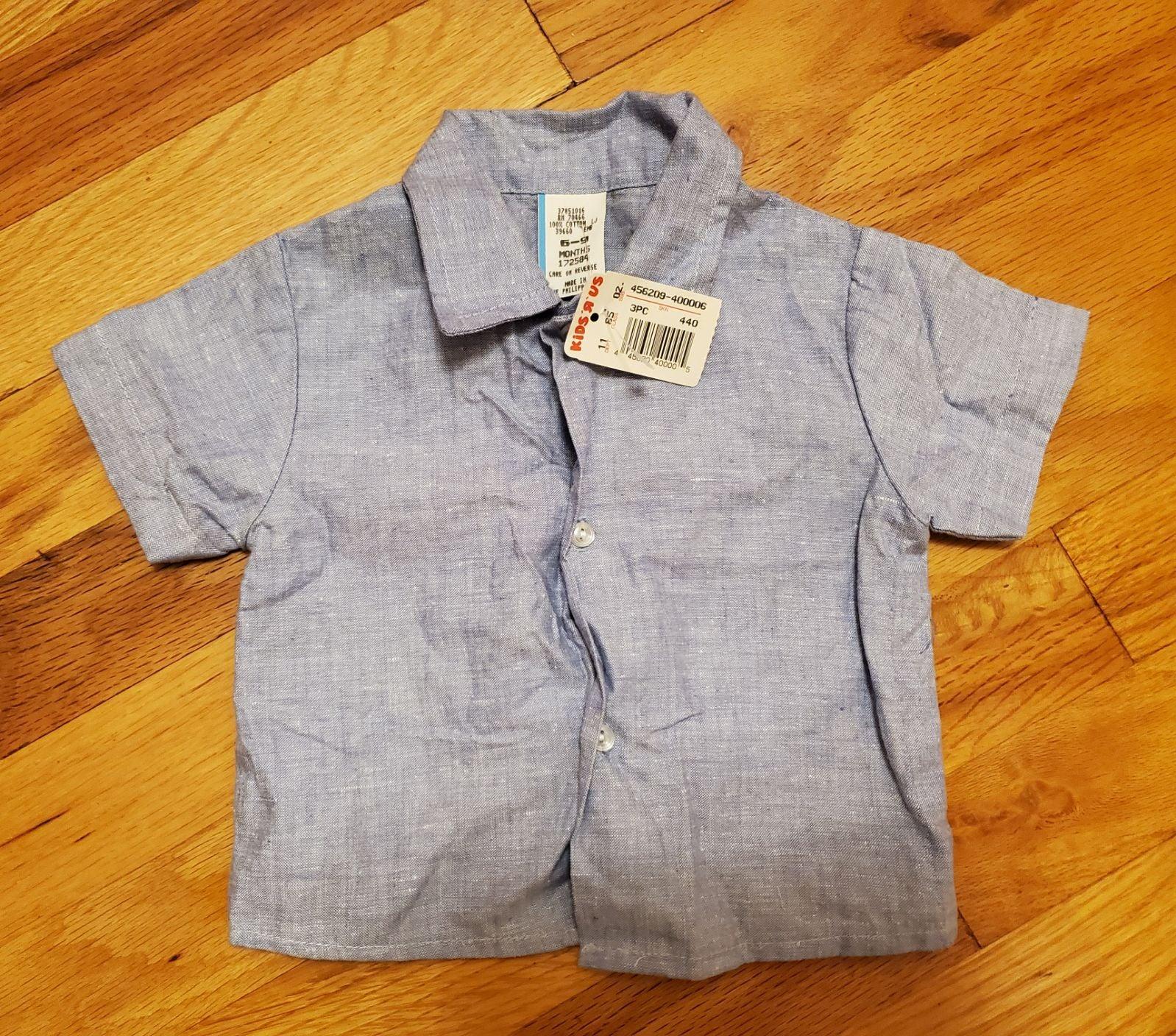 Vintage boys blue button up shirt 6-9 mo