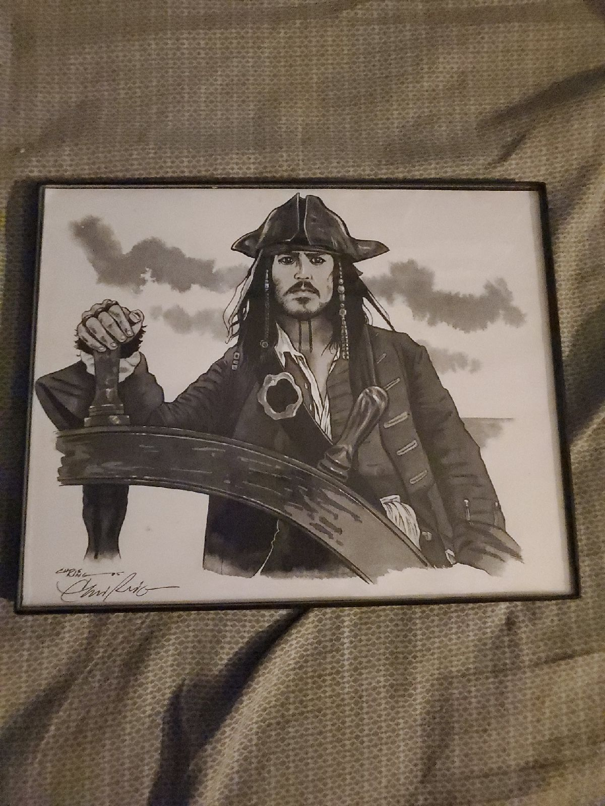 Framed Jack Sparrow Drawing