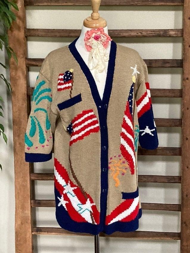 "Vintage BEREK Hand Knit ""USA"" Sweater"
