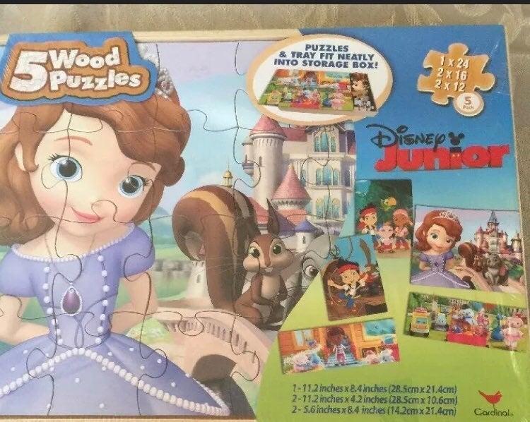 Disney Junior 5 Wood Jigsaw Puzzles in S