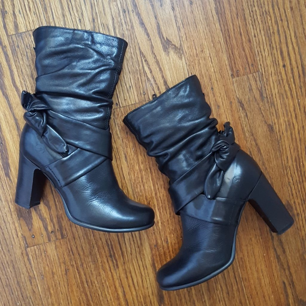Bronx Black Ankle Zip Leather Boots 36