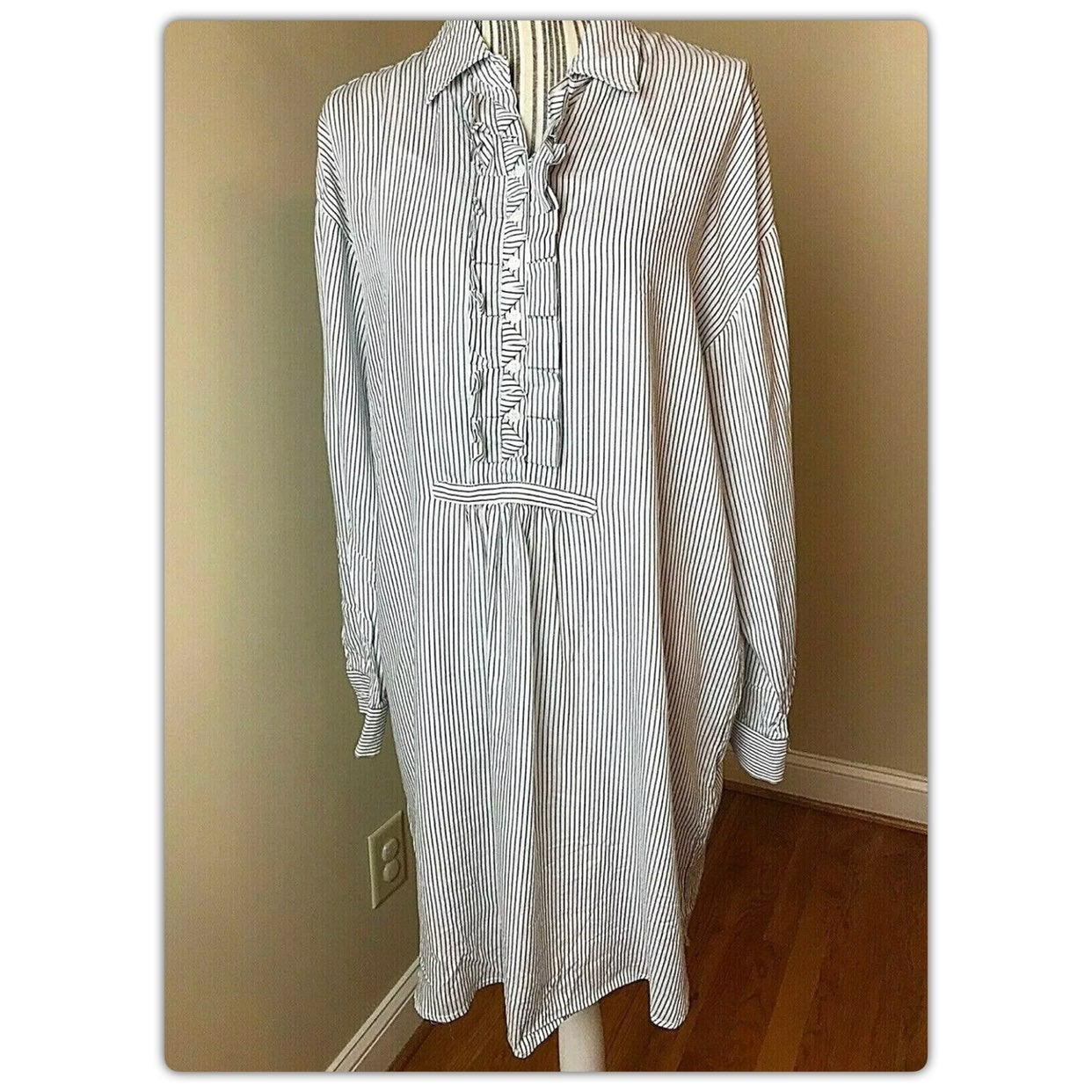 Max Studio Tunic Shirt Dress gray stripe