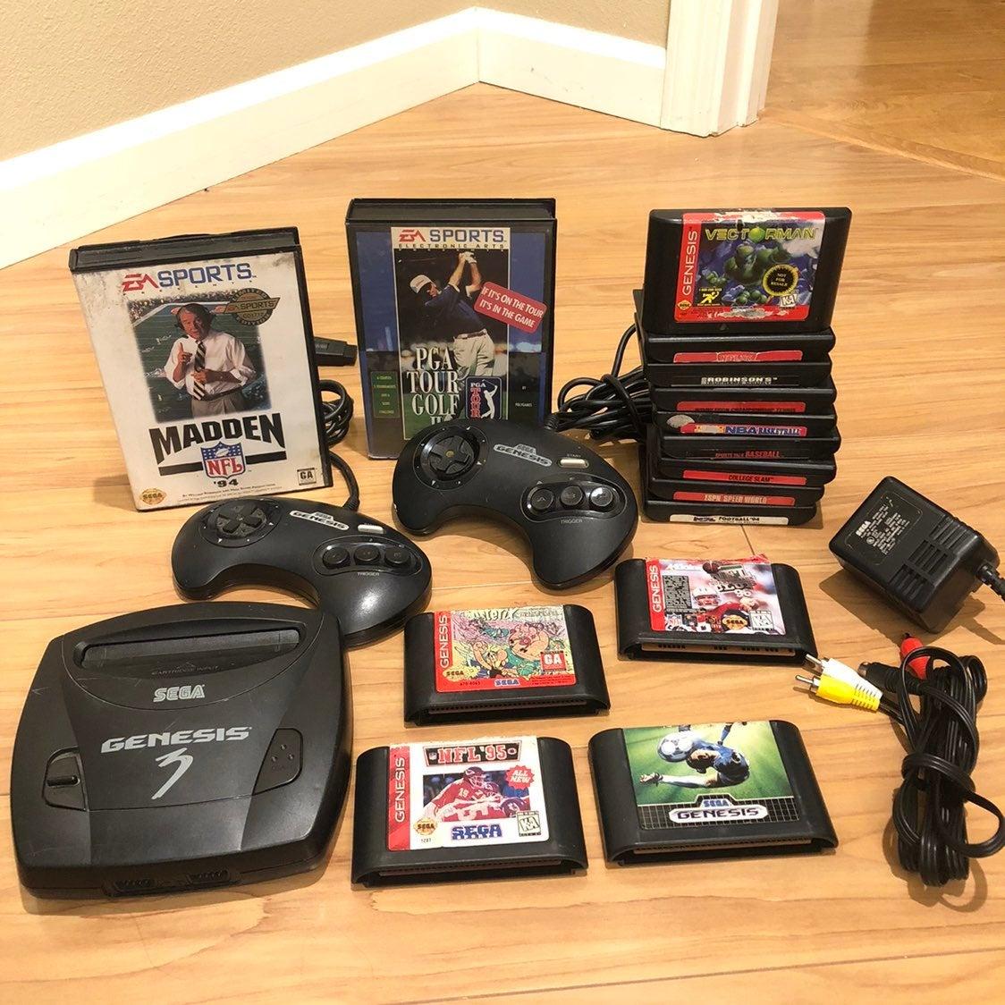 Sega Genesis Model 3 15 Games Bundle Lot