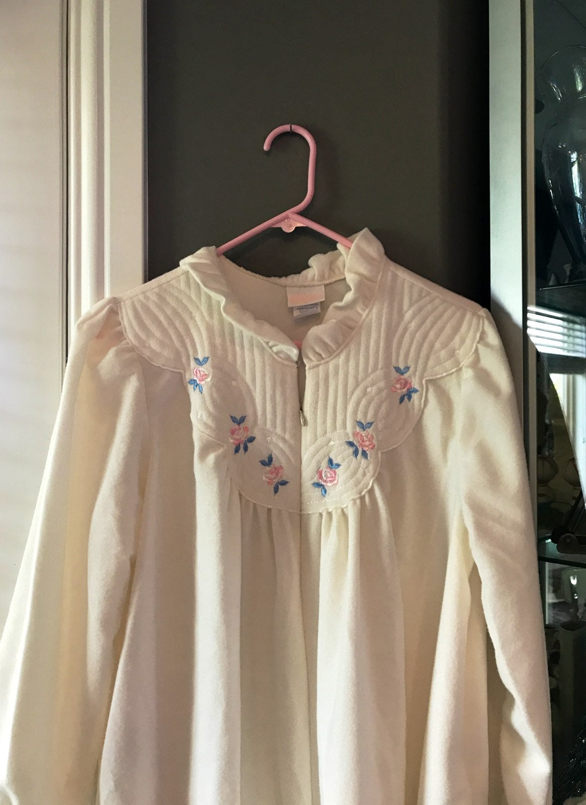 Ladies Embroidered Zip Long Robe Adonna