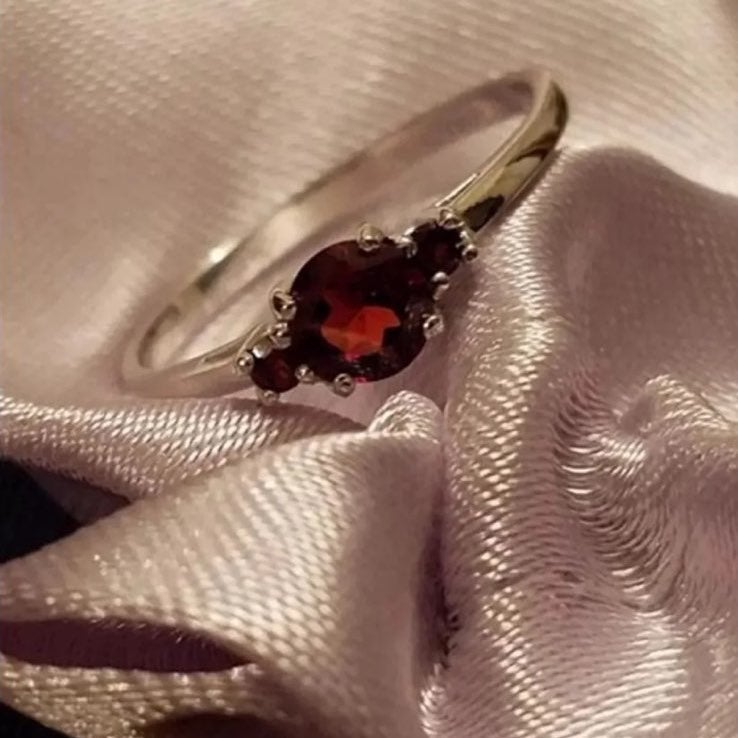 Solid Silver Garnet Stone Promise Ring