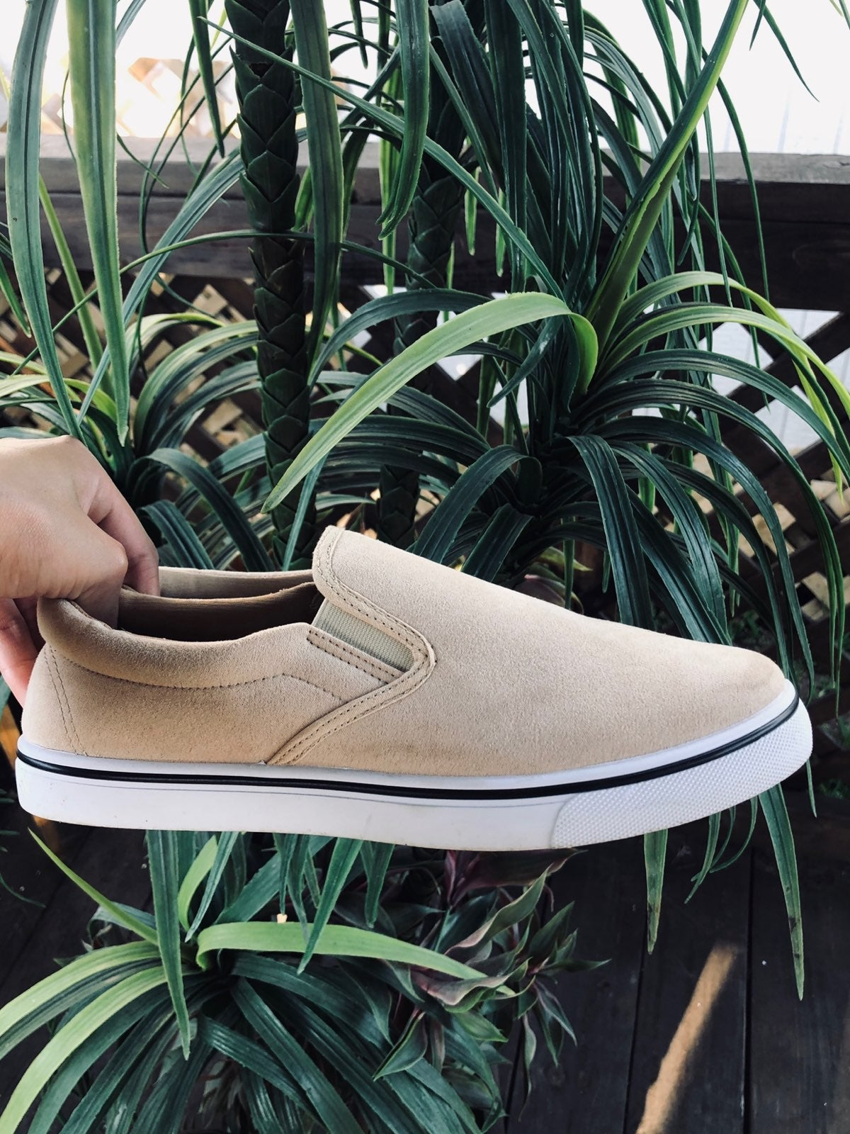 Tan slip on shoe
