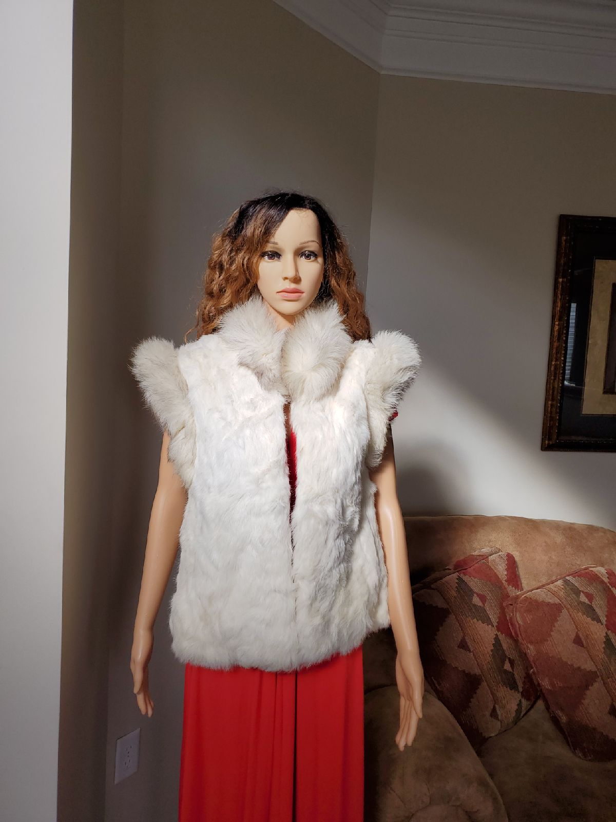 WILSON SUEDE AND LEATHER RABBIT FUR VEST