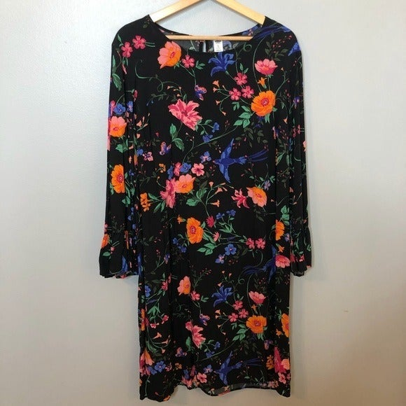 Old Navy Black Floral Shift Dress XL