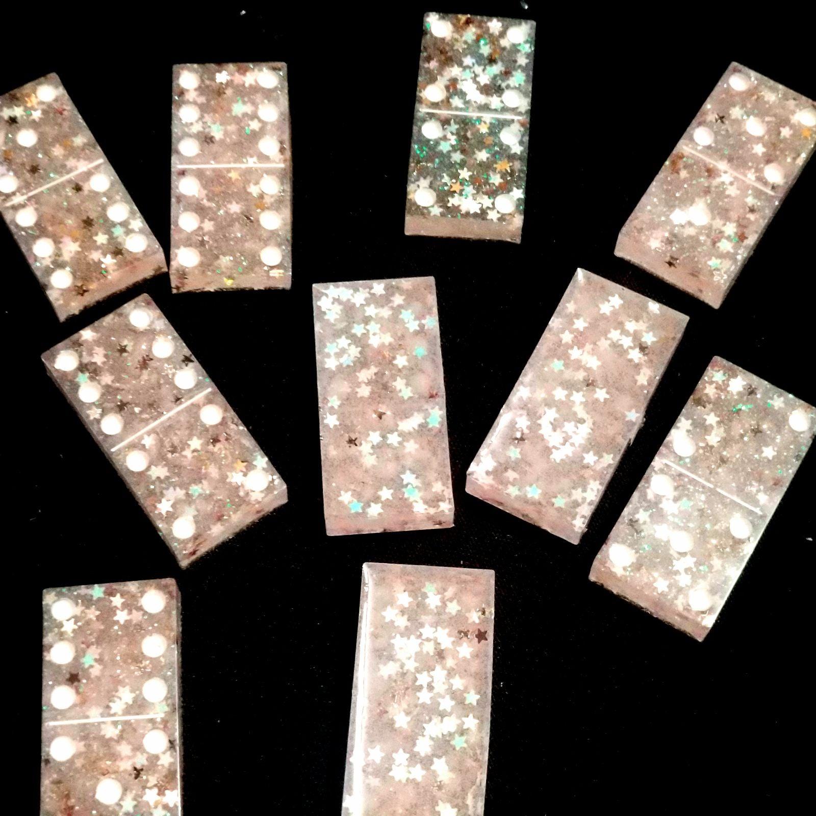 Custom Dominos Pink Glitter