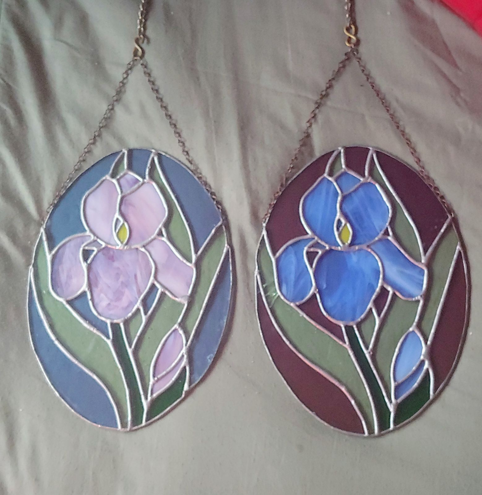 """Pair of 10""""×7"""" Stained Glass Suncatchers"""