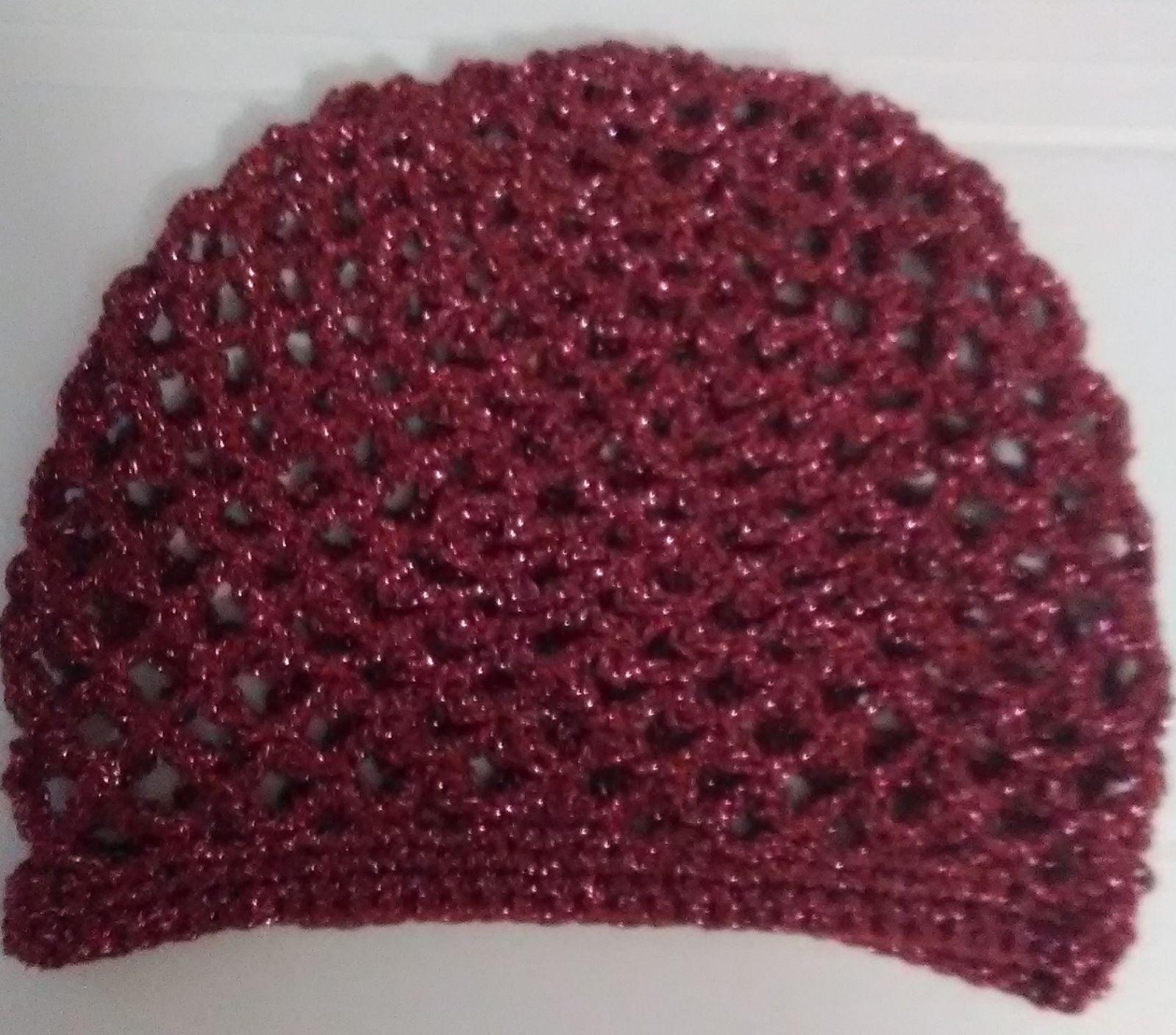 Ruby red juliette cap, mesh crochet