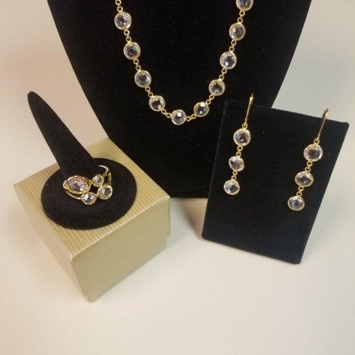 Checkerboard cz jewelry set